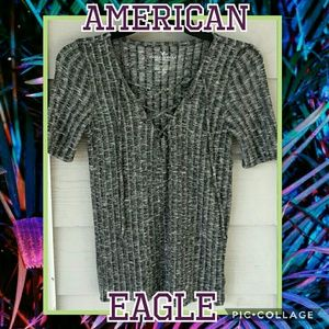 American Eagle Ribbed Knit Lace-up Stretchy Top